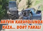 Şavşat Artvin Karayolunda İki Araç Kafa Kayaya Çarpıştı Dört Yaralı