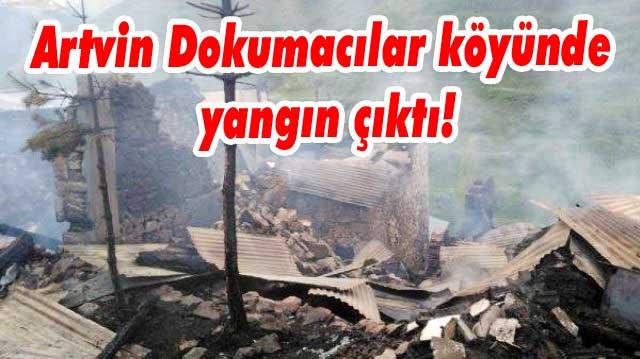 Artvin Dokumacılar köyünde yangın çıktı!